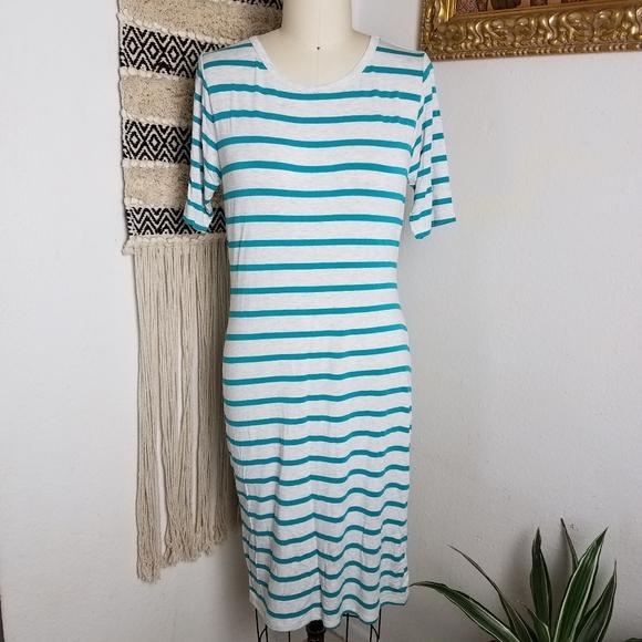SALE ITEM LuLaRoe XS blue striped Julia Dress